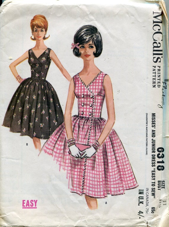 Reserved For Claire 1960s Party Dress Pattern Vintage Mccalls Etsy