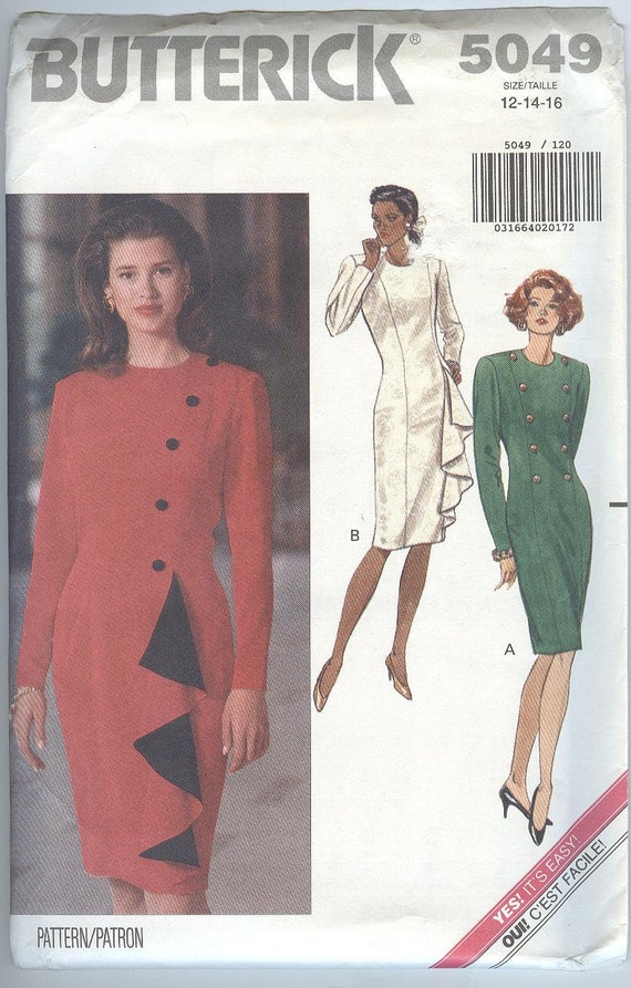 a06681b400 Butterick Sewing Pattern 5049 Slim Dress Slim Skirt Ruffle