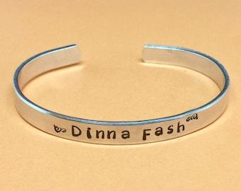 Outlander Inspired - Dinna Fash  Aluminum Cuff Bracelet, Gift Under 20