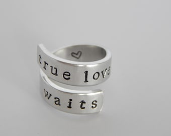 True Love Waits - Purity Wrap Ring - Girl Ring - Gift Under 20