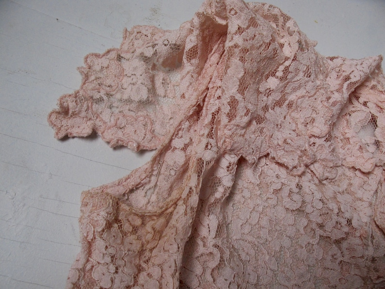 1960\u2019s cropped pink floral lace blouse vintage 60\u2019s collared crop top with butterfly cap sleeves one of a kind homemade lace shirt vtg