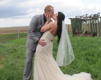 "Fingertip veil with 1/8"" corded satin trim, Single tier satin cord trim, Bridal veil, ivory veil. Style #154"