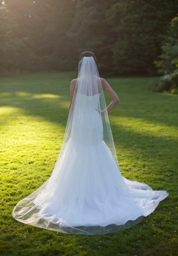 Plain 1 Tier Chapel Length Soft Tulle Veil With Raw Edge NEXT DAY SHIPPING Veil Soft Wedding Cathedral Veil White Cathedral Veil