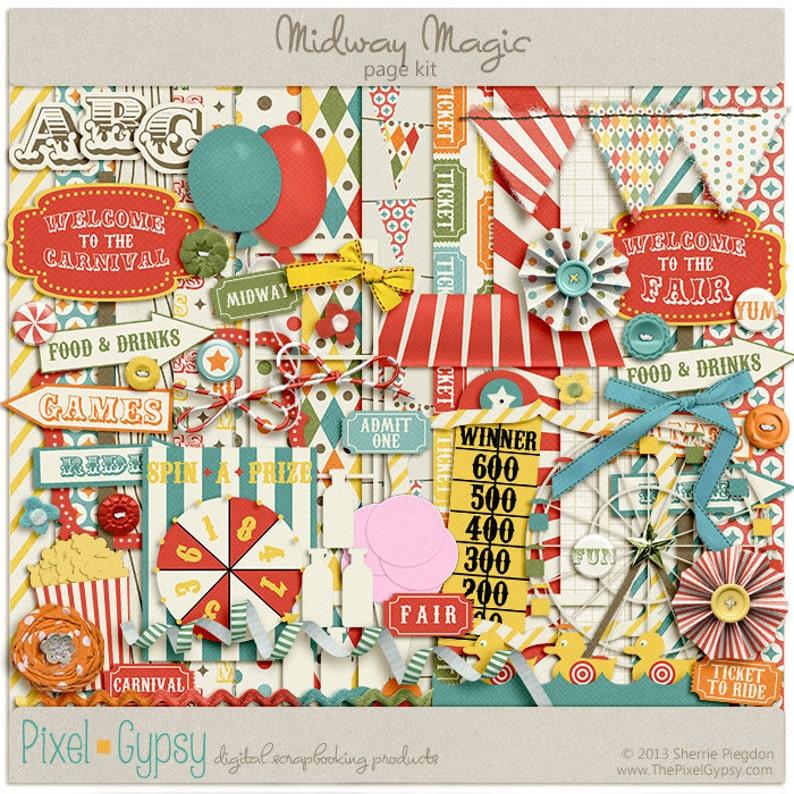 Digital Scrapbooking Page Kit for fair carnival festival  image 0