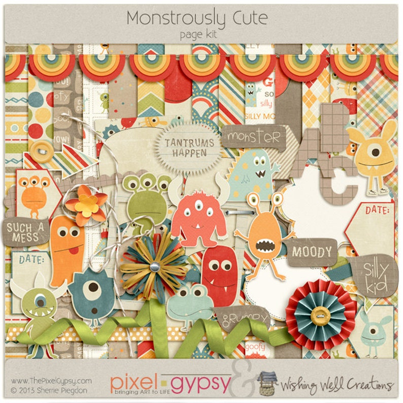 Digital Scrapbooking Kit with Monsters for Kids Parenting image 0