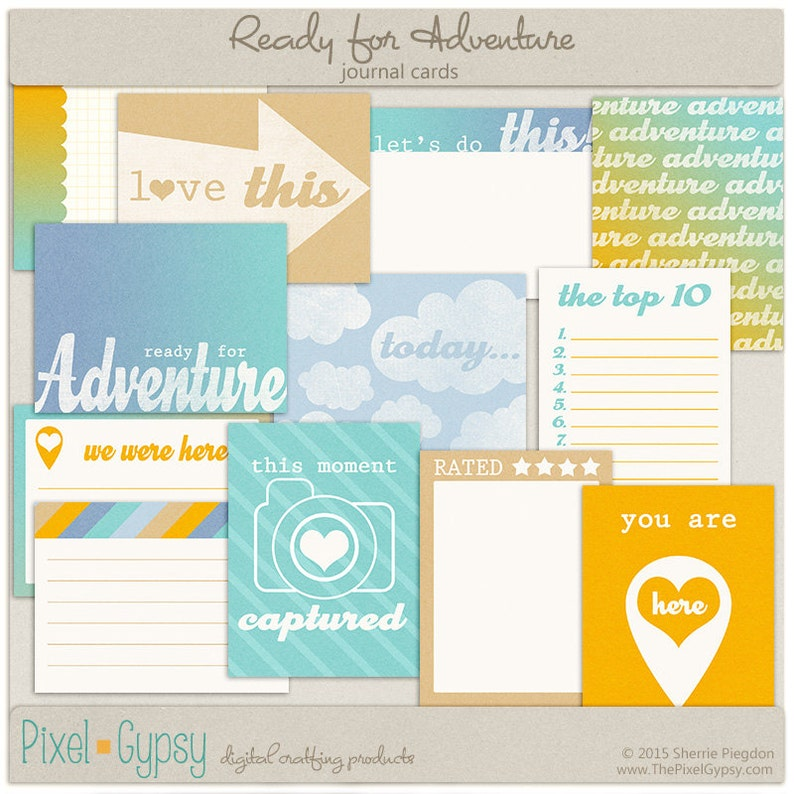 Digital Scrapbooking Printable Project Life Cards for Travel image 0