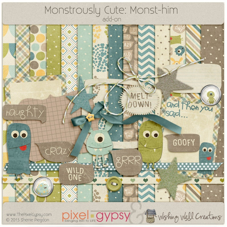 Digital Scrapbooking Kit with Monsters for Boys Parenting image 0