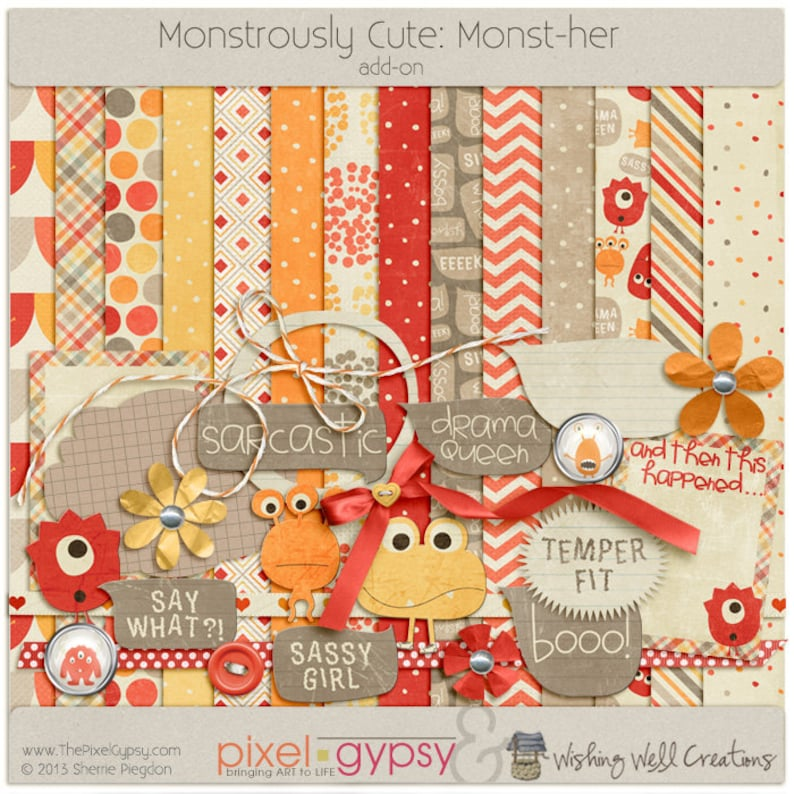Digital Scrapbooking Kit with Monsters for Girls Parenting image 0