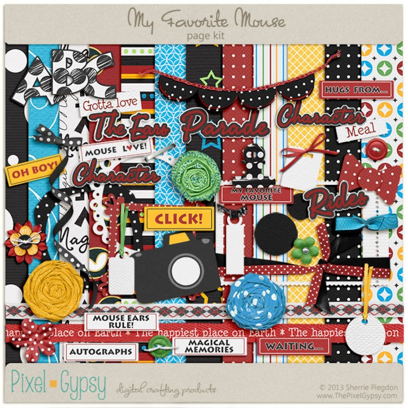 Digital Scrapbooking Page Kit for Disney vacation Mickey  image 0