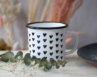 Enamel Mug - Small Hearts - Black White