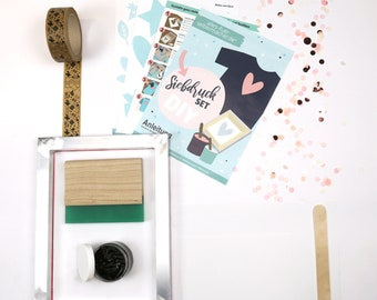 DIY Screen Printed Starter Set - A4/A3 Frame - incl. squeegee - for self-making