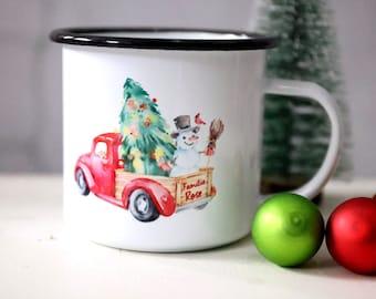 Enamel Mug - Christmas - Car - Personalized - By Name - Christmas Car - Snowman