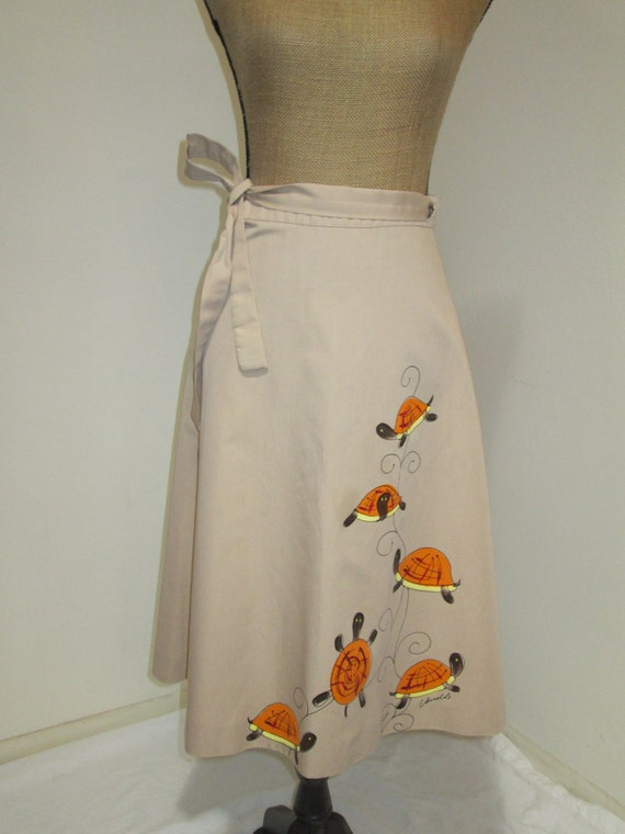 Fab Vintage 1960s Hand Painted Novelty Wrap Skirt,