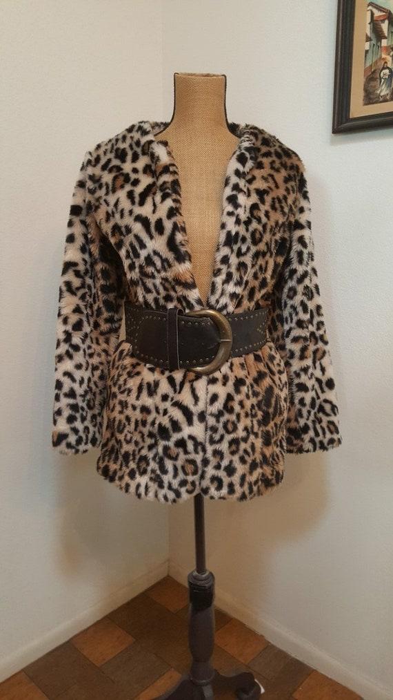 Vintage Faux Fur Leopard 1990s Jacket, Leopard jac