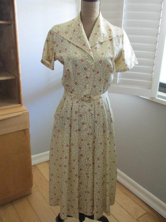 """Novelty Print 1950s vintage day dress Designer """"Da"""