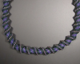 Beaded  Necklace - Green & Purple Cellini Spiral
