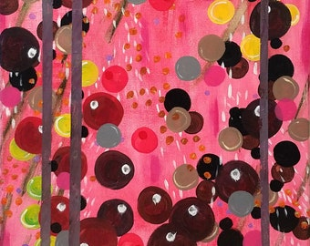 Original Abstract Painting on Canvas, Bubbles and Circles, Wall Art, Ready to Hang, Art for the Home or Office