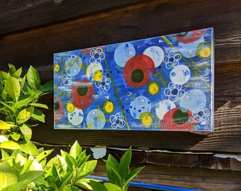 Primary Colors, Original Abstract Painting on Canvas, Wall Art, Ready to Hang, 24x12 inches, Art for the Home or Office