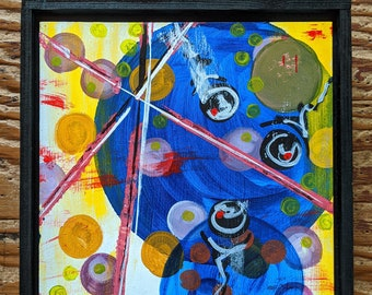 """Original Abstract Painting by Monica Schill titled """"2 Blue Circles"""", Framed and Ready to Display"""