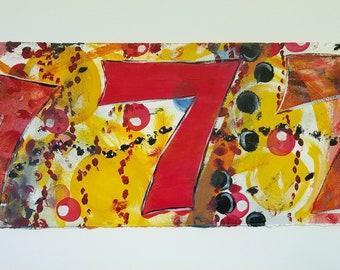 Triple Sevens, Abstract Painting on Paper, Lucky Number 7, Wall Art, Original Art, Gambling Art