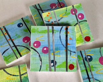 Small Square Paintings, Original Abstract Paintings on Wood, Colorful and Fun