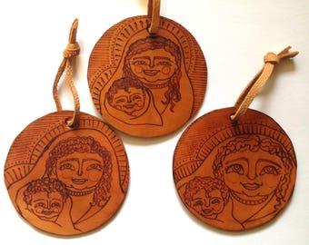 Mary & Jesus Ornament - BVM - Holy image - Catholic icon - Christmas - Leather - Catholic Gift - Small Gift