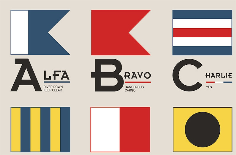 Nautical Maritime Naval Alphanumeric Signal Flags SVG Cut image 0