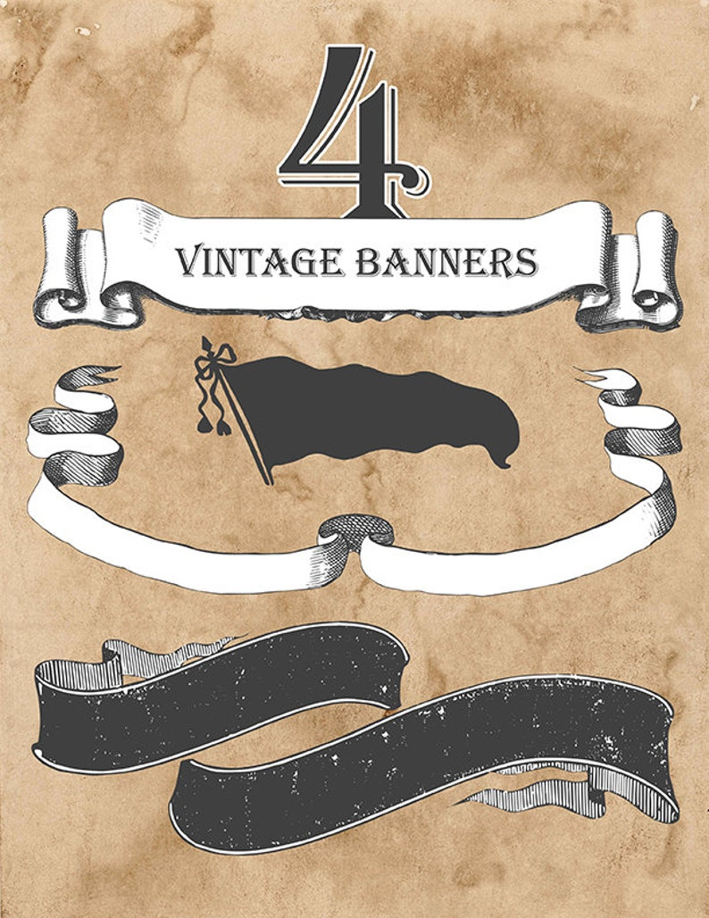 Set of 4 Vintage Banners & Ribbons Scalable Vector Artwork  image 0