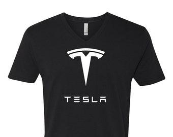 Premium Tesla Short Sleeve V-Neck T-Shirt