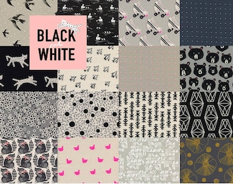 Fat Quarter Bundle (16) BLACK AND WHITE Collaborative by Cotton and Steel 2017 Fat Quarters