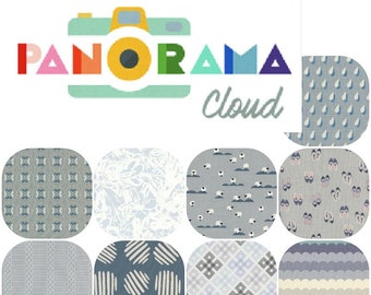Fat Quarters PANORAMA Cloud (9) Cotton Fabric Collaboration from Cotton and Steel Fat Quarter Bundle
