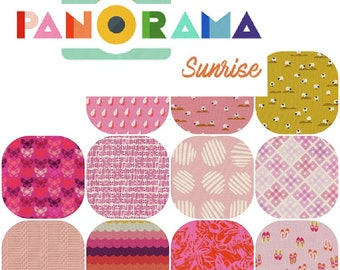Fat Quarters PAN0RAMA SUNRISE (11) Cotton Fabric Collaboration from Cotton and Steel Fat Quarter Bundle