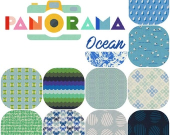 Fat Quarters PANORAMA Ocean (12) Cotton Fabric Collaboration from Cotton and Steel Fat Quarter Bundle