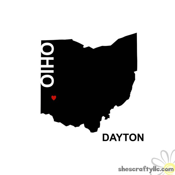 Dayton Ohio State Silhouette With Heart And Word Dayton Etsy