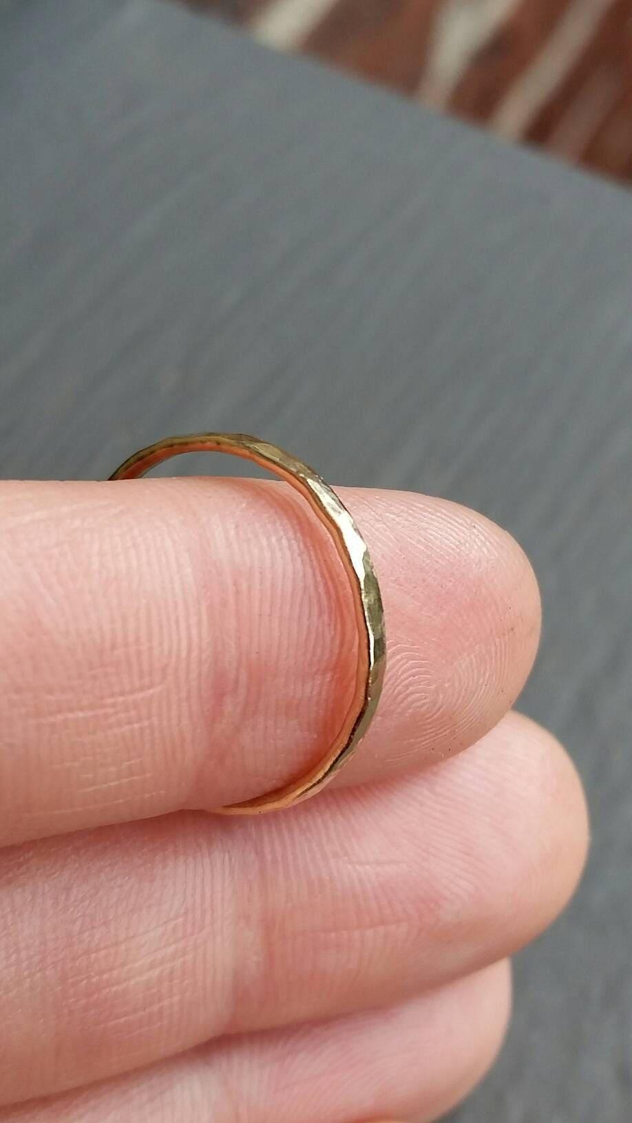 Solid 14k Gold Stacking Ring Choose Your Size 16 Gauge | Etsy