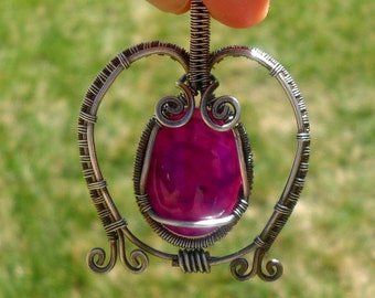 Purple Wire Woven Owl Pendant