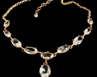 Swarovski Signed Necklace Gold Plated Set with Oval Crystals Swan Logo
