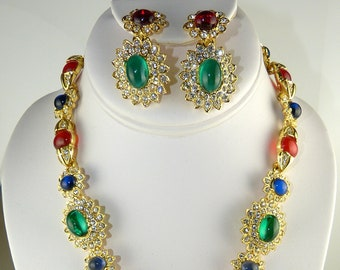 Kenneth Lane Signed Maharani Jewels of India Onassis Pendant Necklace and Earrings