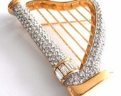 Swarovski Signed Harp Pin Gold Plated Set with Clear Crystals