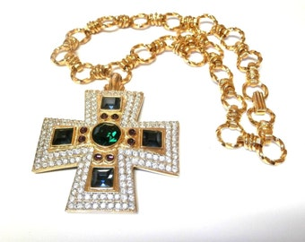 Swarovski Signed Maltese Cross Necklace Gold Plated set with Crystals
