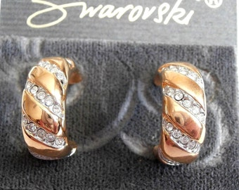 D. Swarovski Signed 14 kt Gold Post Earrings Gold Plated set with Clear Crystals