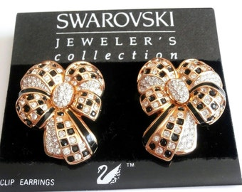 Swarovski Signed Clip On Earrings Gold Plated set with Crystals