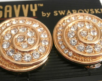 Swarovski Signed Clip Earrings Gold Plated set with Crystals