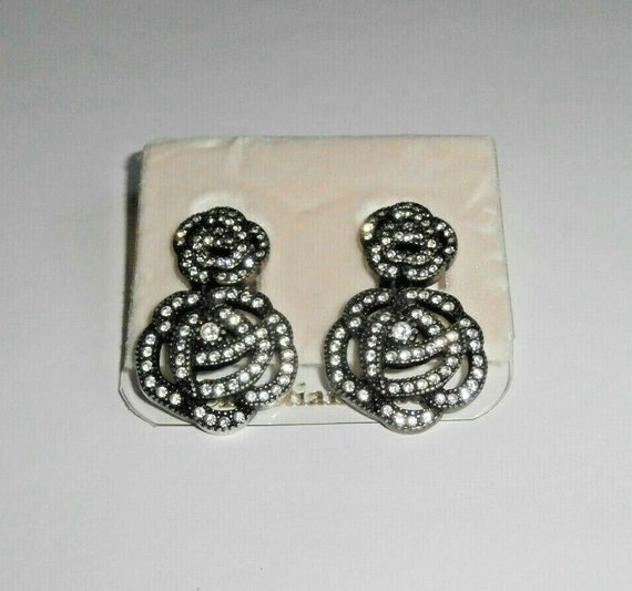 Christian Dior Signed Gunmetal Plated Dangling Cli