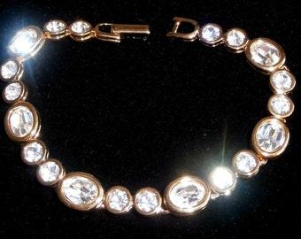 Swarovski Signed Bracelet Gold Plated with Bezel Set Crystals