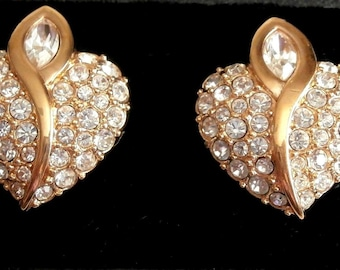 Swarovski Signed Earrings Clip On Gold Plated Set with Clear Crystals