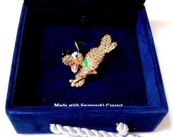 Signed Swarovski Disney Pluto Pin Brooch Limited  Edition MIB
