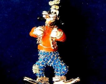 Swarovski Signed Disney Pin Brooch Limited  Edition Goofy COA