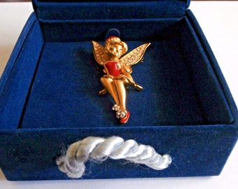 Swarovski Disney Signed Tinkerbell Santa Pin Brooch in Box