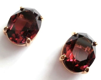Swarovski Signed Clip Earrings Gold Plated set with Amethyst Crystal